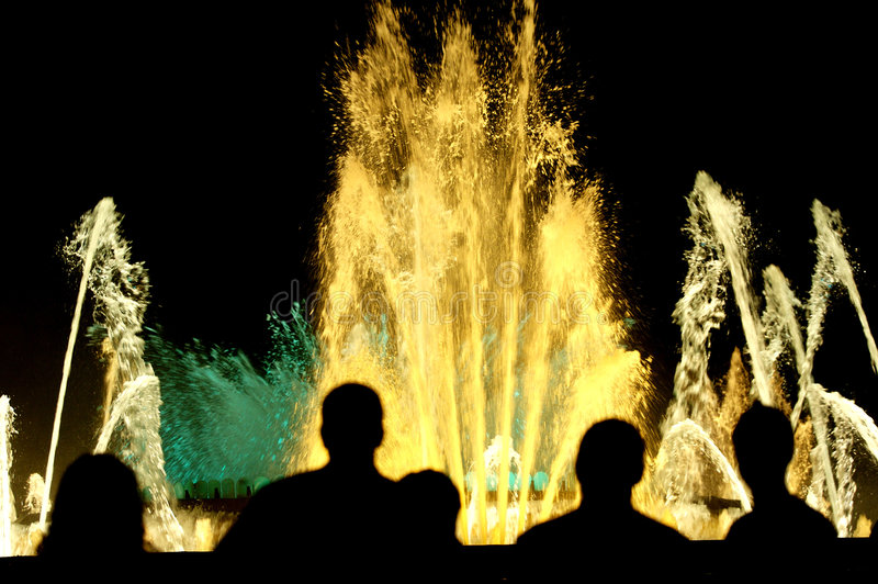 Colour Fountains. Barcelona Fountains in a festivity day celebration royalty free stock photos