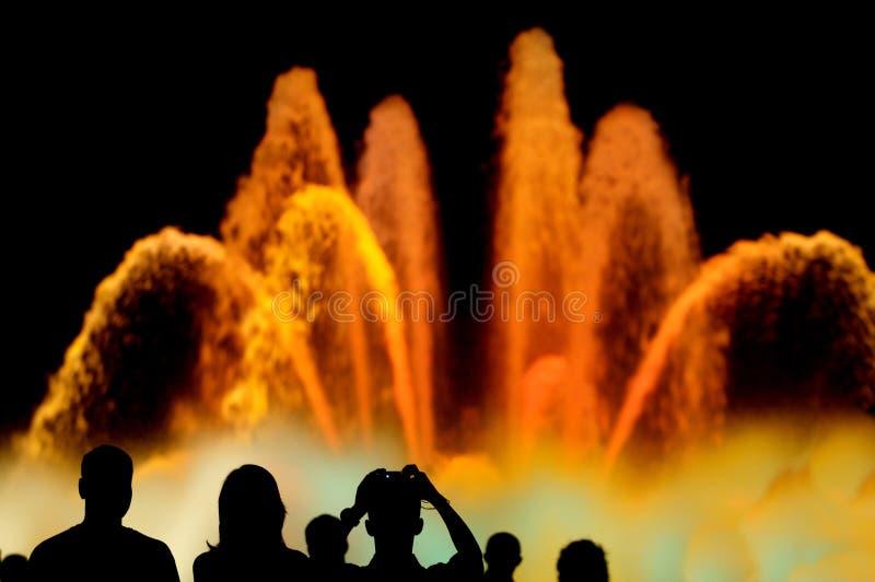Colour Fountains. Barcelona Fountains in a festivity day celebration stock photo