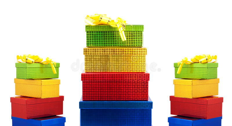 Colour gift boxes. Isolated on a white background stock image