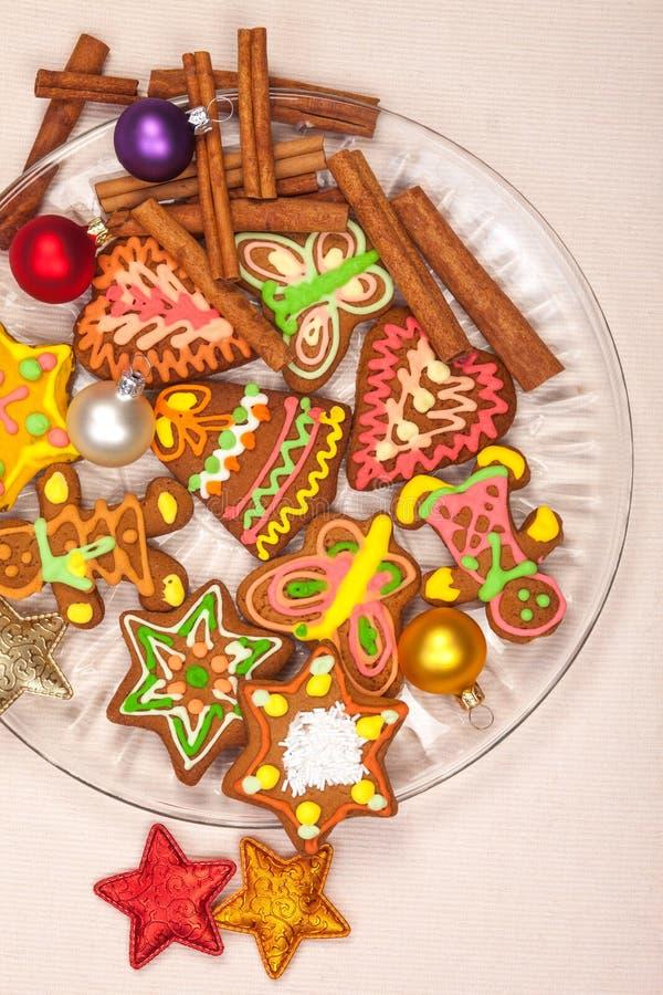 Colour gingerbread, Christmas cookies. Colour gingerbread and cinnamon, Christmas cookies royalty free stock photos