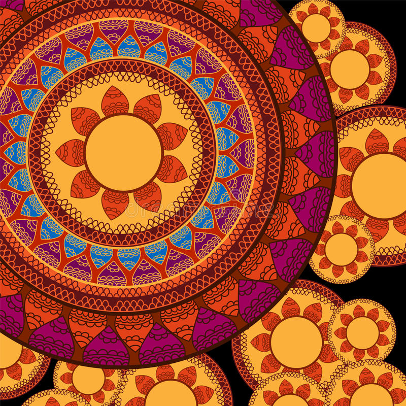 Colour Henna Mandala Background royalty free illustration