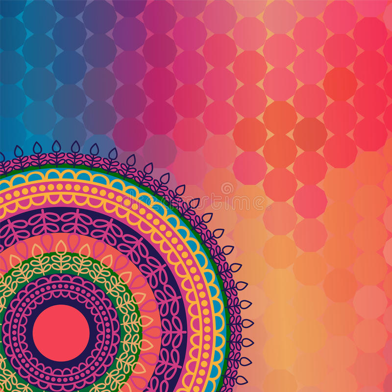 Colour Henna Mandala Background vector illustration