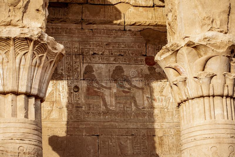 Colour Hieroglyphics at the Temple of Horus - Edfu in ancient Egypt Idfu, Edfou, Behdet royalty free stock photo