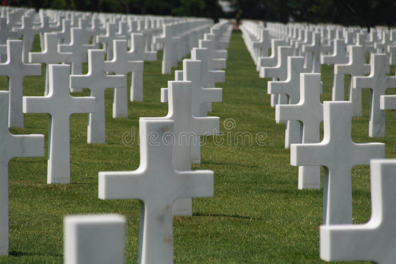 Colour image of US war graves in FRance stock photo