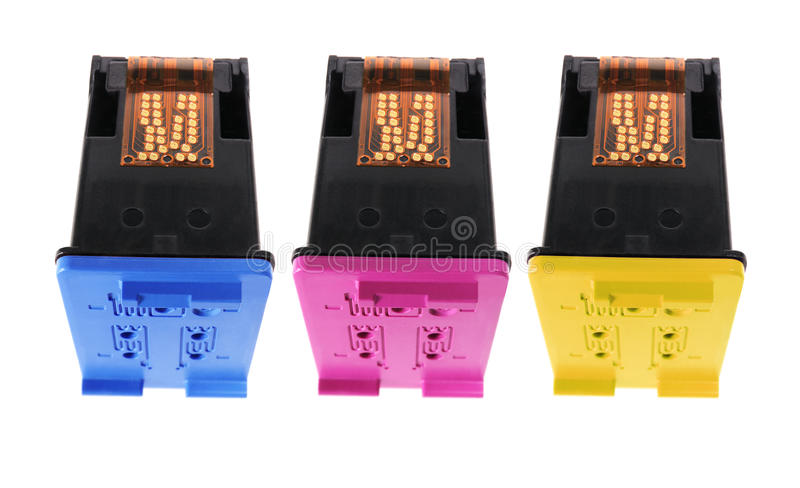 Colour Ink Cartridges. On White Background stock photo