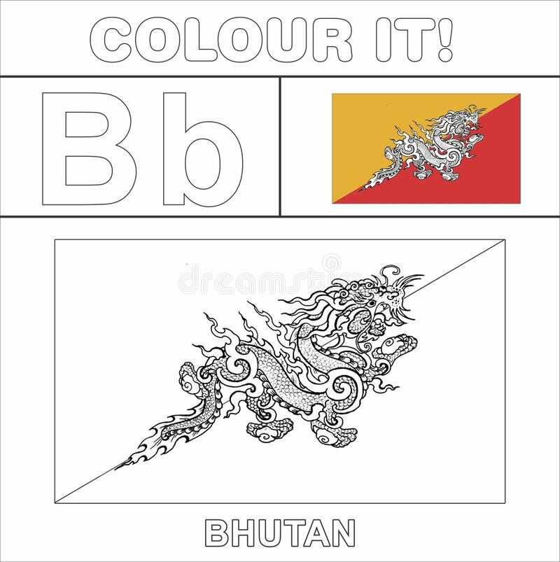 - Colour It Kids Colouring Page Country Starting From English Letter `B`  Bhutan How To Color Flag Stock Illustration - Illustration Of Drawing,  Coloring: 173087390
