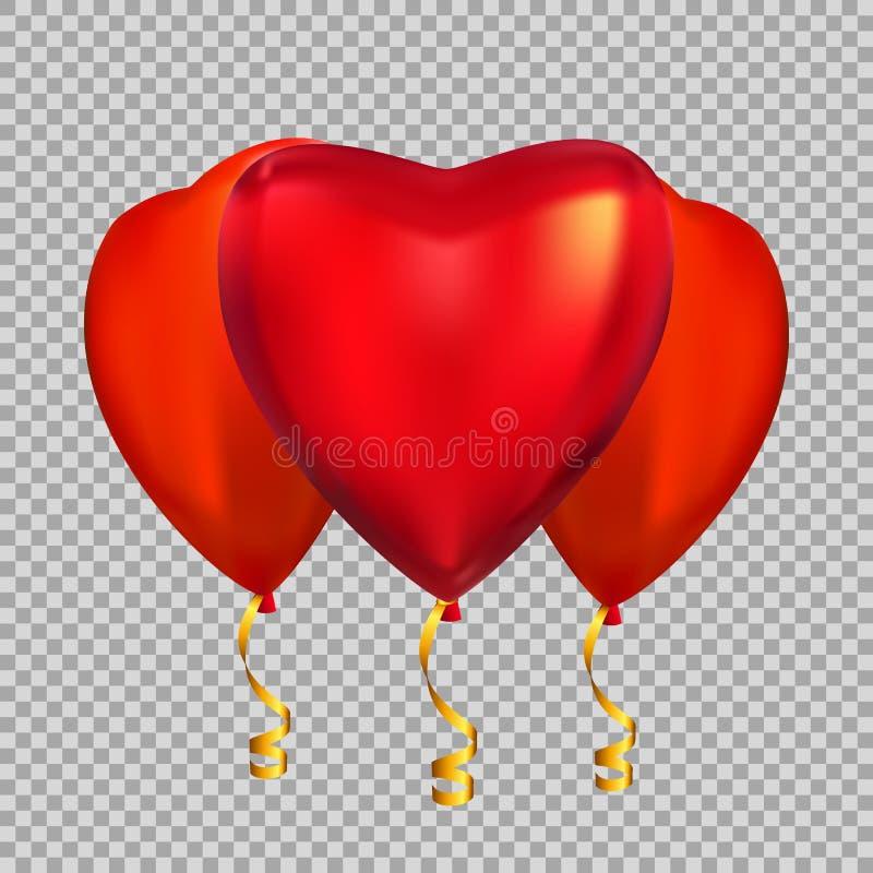 Colour kształta helu Glansowani Kierowi balony Odizolowywający na Przejrzystym tle ilustracji