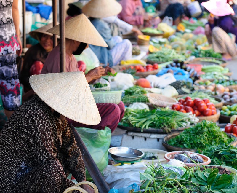 Colour markets in Vietnam in Hoi An royalty free stock images