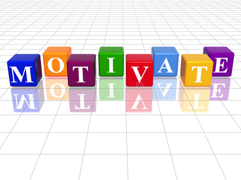 Colour motivate. 3d colour cubes with text - motivate, word, with reflection stock illustration