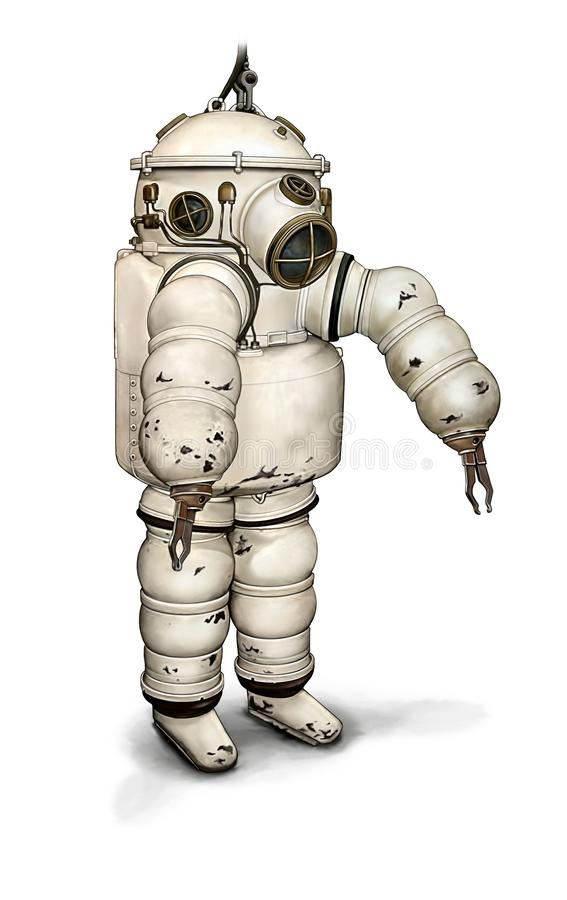 Colour illustration of an early 20th century diver suit. Colour numeric illustration of an early 20th century deep sea diver suit vector illustration