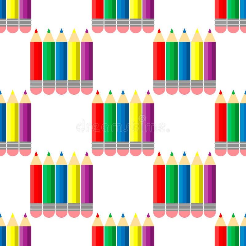 Colour ołówków tęczy styl, bezszwowi ołówki deseniuje colour ołówków wektorową ilustrację na białym tle ilustracji