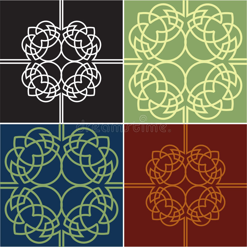 Colour Ornate Quads. Four Variants. Royalty Free Stock Images