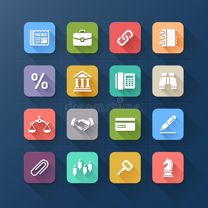 Colour płaskie ikony dla biznesu i strony internetowej projekta. royalty ilustracja