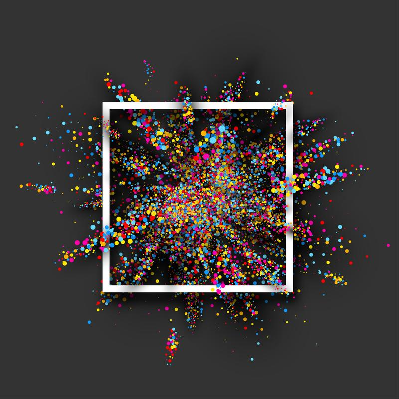 Colour paint explosion on grey. Colour paint explosion in white frame on grey background. Vector illustration royalty free illustration