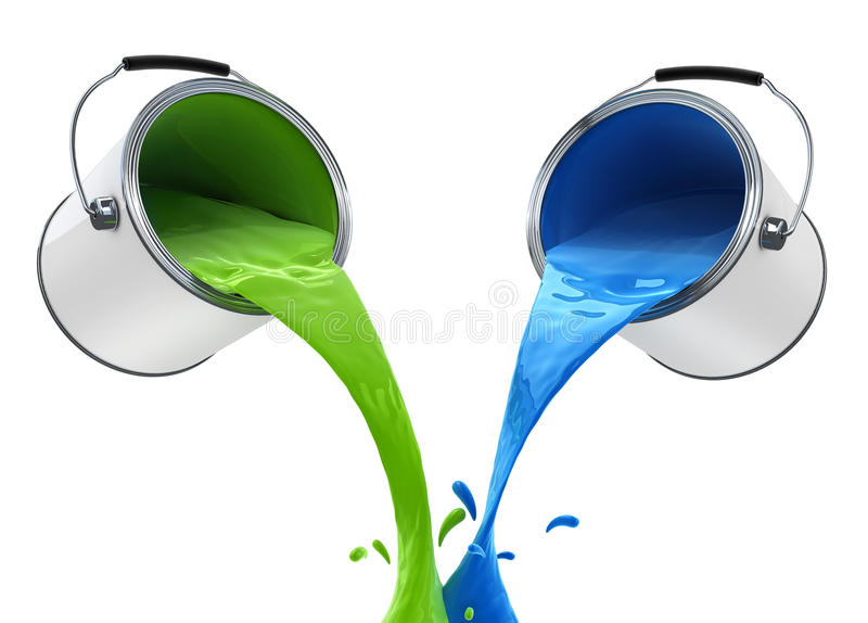 Colour paint pouring from bucket vector illustration