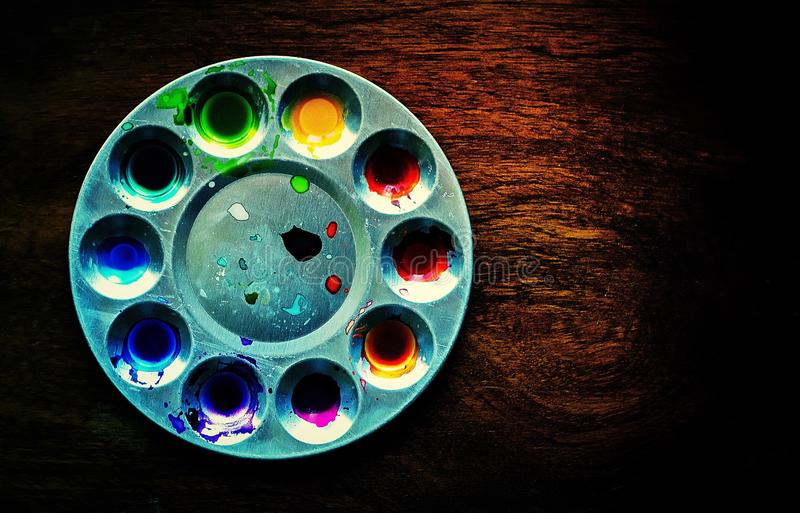 Colour palette on table royalty free stock photography