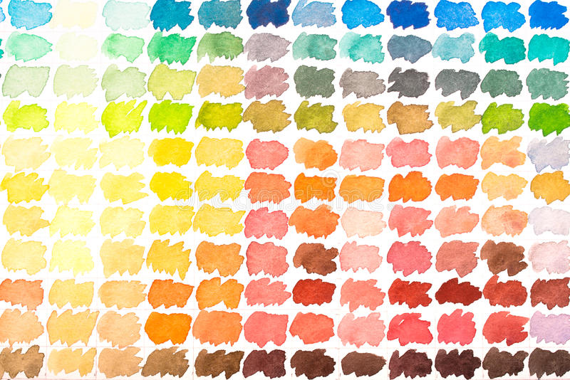 Colour palette with watercolours red, yellow, green blue and ora stock photos