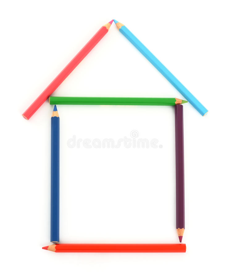 Download Colour pencil house stock image. Image of isolated, colour - 12801371