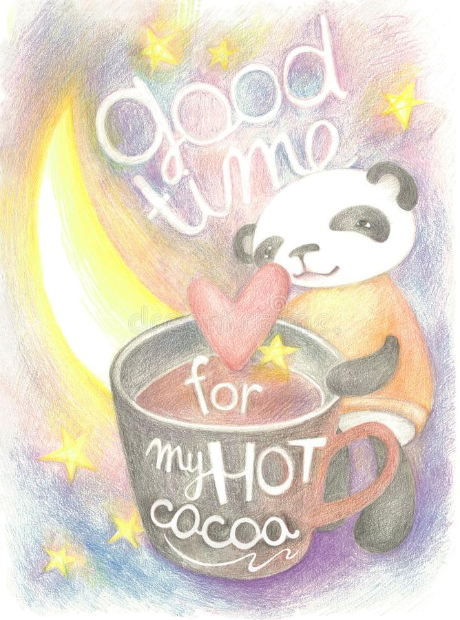 Good time for my hot cocoa. Engoyment time. Colour pencil illustration. Little panda and her  big cocoa cup royalty free illustration