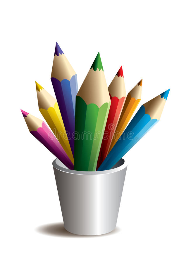 Colour pencils. Creative illustration royalty free illustration