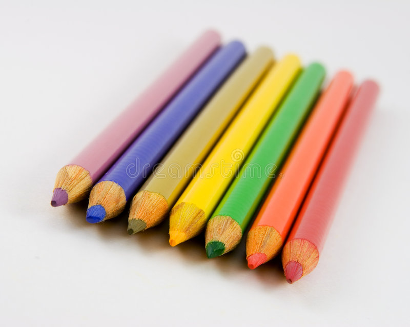 Seven Colored Pencils Stock Images