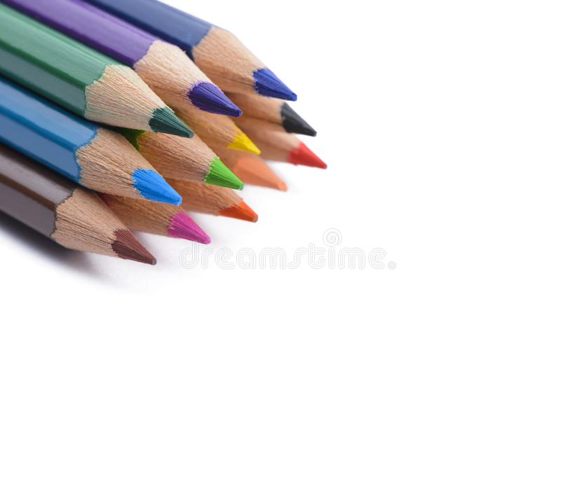 Colour pencils with copy space. Isolated on white background. royalty free stock image