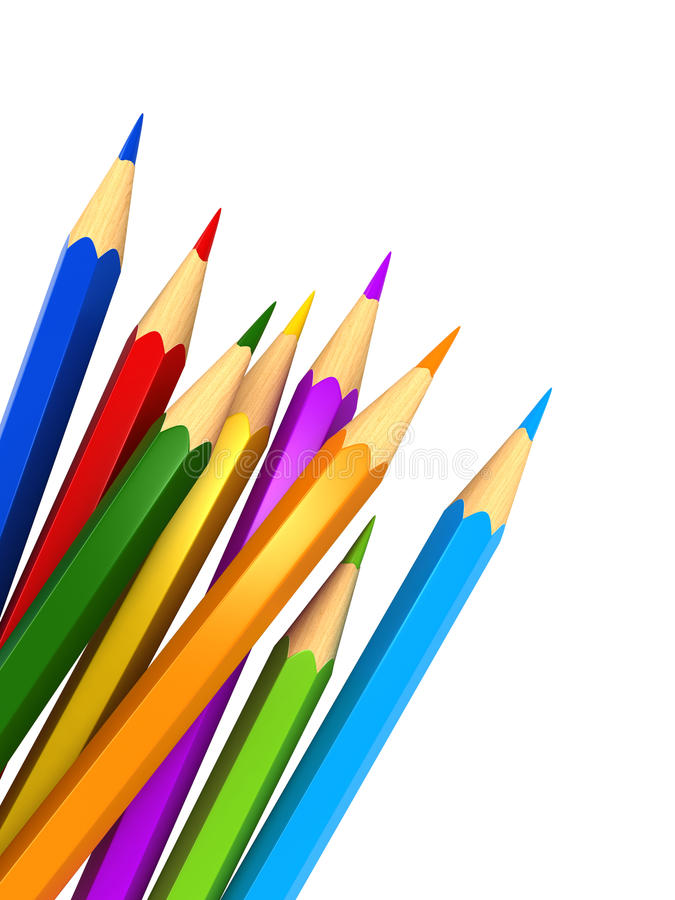 Colour pencils. 3d render of colour pencils over white background royalty free illustration