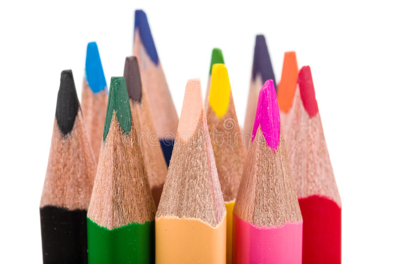 Colour Pencils Isolated On White Stock Photo