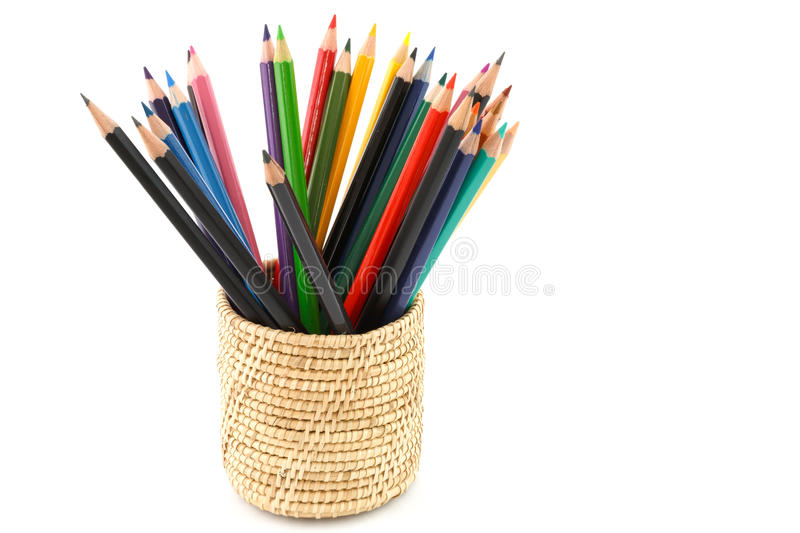 Colour pencils isolated and white background royalty free stock photography