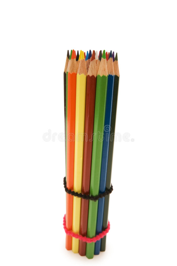Colour pencils isolated on the white background royalty free stock photo