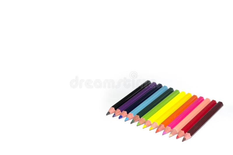 Colour pencils isolated on white background royalty free stock images
