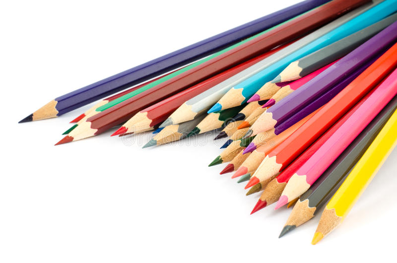 Colour pencils isolated on white background close up. royalty free stock photos
