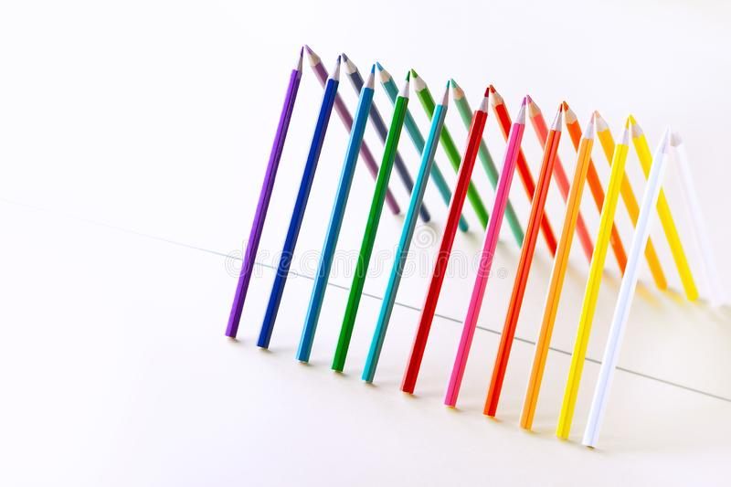 Colour pencils set on light  background with copy-space royalty free stock photography