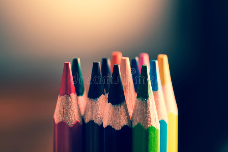 Colour pencils. Styled concept photo.  stock photography