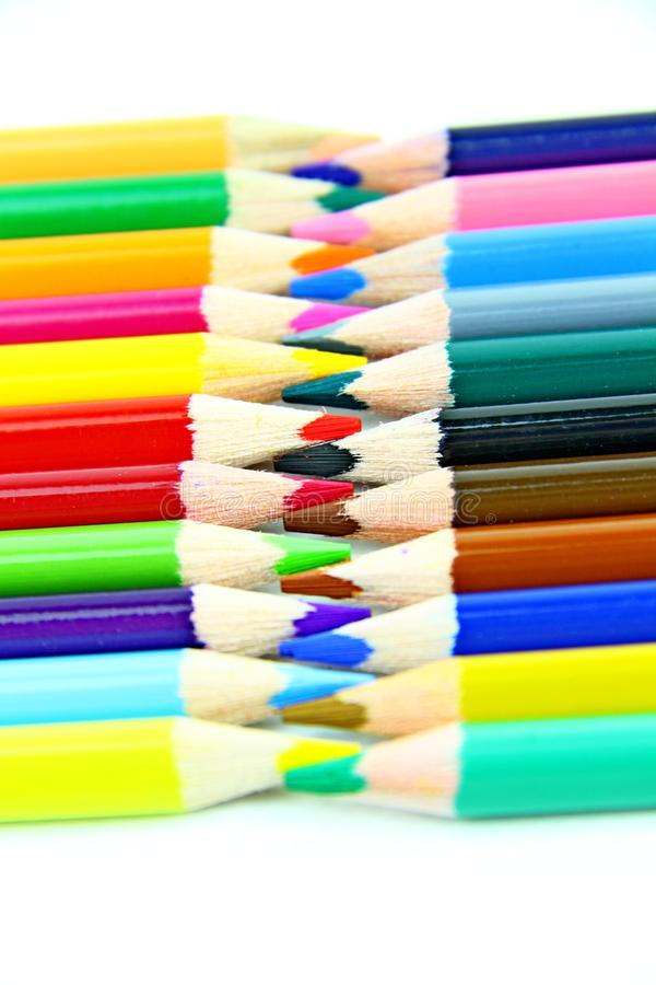 Colour pencils with white background stock photo