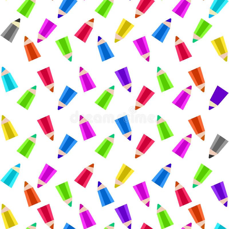 Colour pencils on white background. Colour pencils randomly scattered on white background. Abstract flat styled bright colors illustration. Vector pencils vector illustration