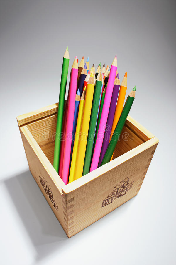 Download Colour Pencils In Wooden Box Royalty Free Stock Images - Image: 21994019