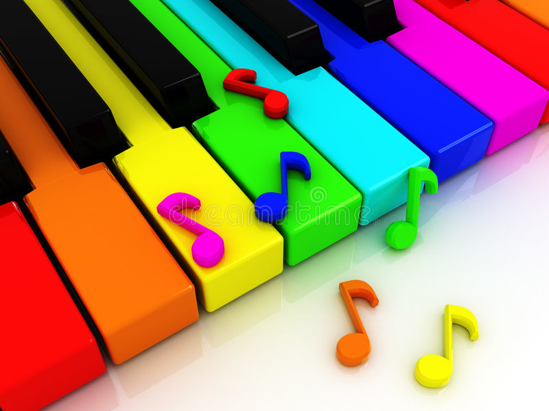 Colour piano keys. 3d illustration of colour piano keys with note signs vector illustration