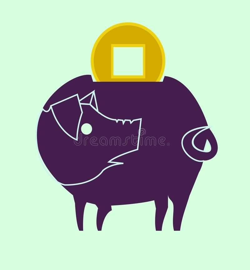 Colour picture piggy bank with ancient chinese coin vector illustration