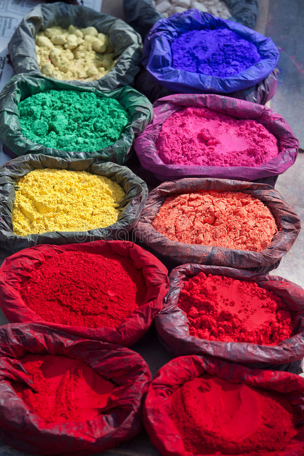 Colour Pigment. Paint pigment in the sun in Kathmandu, Nepal royalty free stock photos