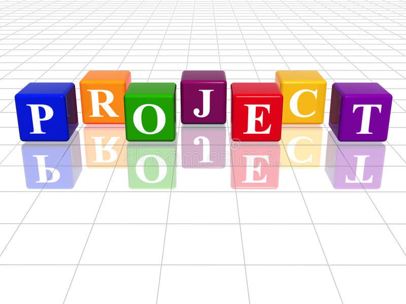 Colour project. 3d colour cubes with text - project, word, with reflection stock illustration