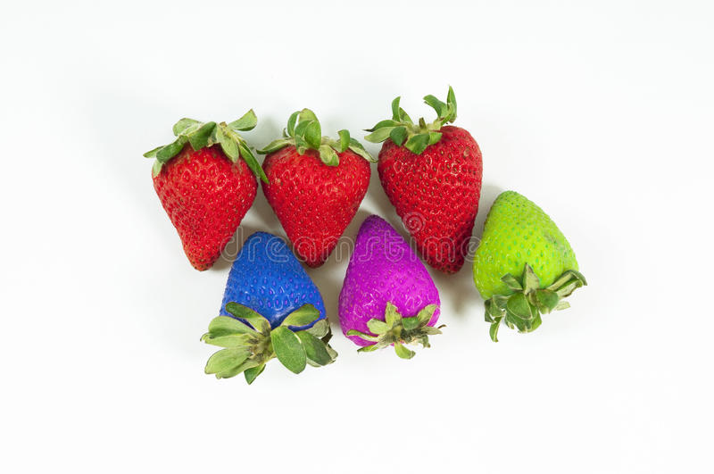Colour Strawberry. Special coloured strawberry dan red strawberry royalty free stock photo