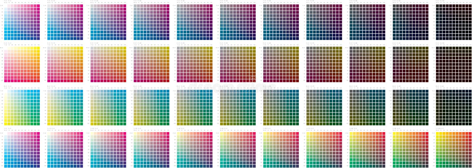 Colour swatch. This is in RGB - ask me for the CMYK File for accurate colour, colour swatch to calibrate colour, check curves, colour tests royalty free illustration