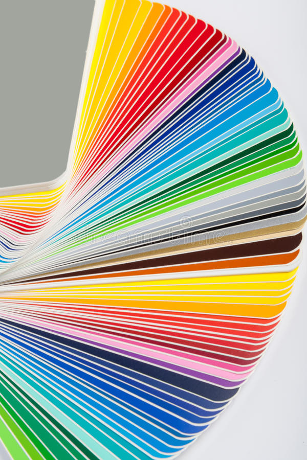 Colour swatches book. Rainbow sample colors catalogue stock photo