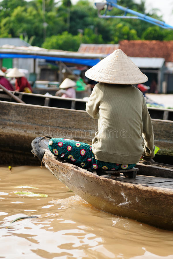 Colour swimming markets in Vietnam in the Mekongu delta royalty free stock photography