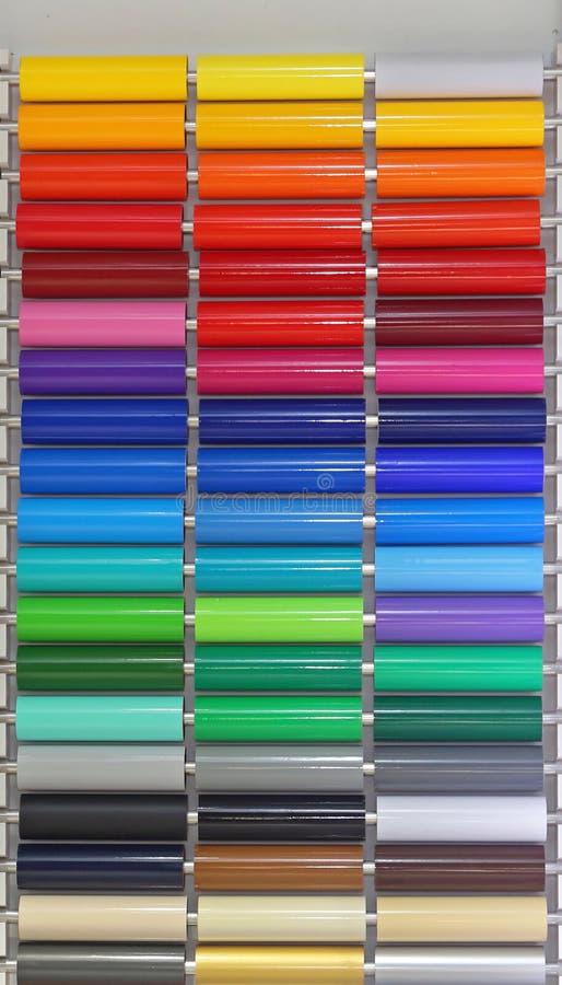 Foil Vinyl. Colour Vinyl Pvc Plastic Foils Material royalty free stock photos