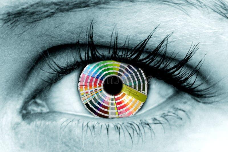 Colour Wheel Eye. Printers pantone book acts as the iris of this eye