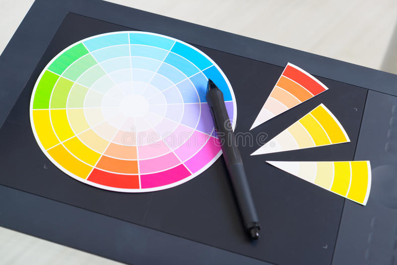 Colour wheel and graphic tablet stock photos