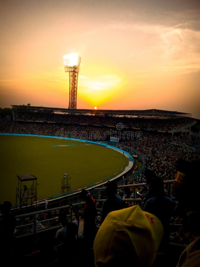 The colour of whistlepodu at KKR& x27;s homeground Eden Garden stadium.& x28;Roar of the Lion& x27;s& x29; stock photo