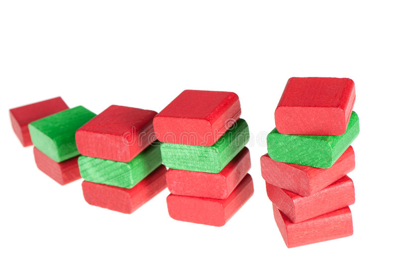 Colour wooden cubes. It is isolated on a white background stock images